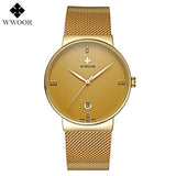 Fashion Simple Stylish Luxury brand WWOOR Watches Men Stainless Steel Mesh Strap Thin Dial Clock Man Casual Quartz-watch Black-ASTROSHADEZ.COM-Gold-ASTROSHADEZ.COM