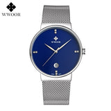 Fashion Simple Stylish Luxury brand WWOOR Watches Men Stainless Steel Mesh Strap Thin Dial Clock Man Casual Quartz-watch Black-ASTROSHADEZ.COM-Blue-ASTROSHADEZ.COM