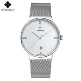 Fashion Simple Stylish Luxury brand WWOOR Watches Men Stainless Steel Mesh Strap Thin Dial Clock Man Casual Quartz-watch Black-ASTROSHADEZ.COM-White-ASTROSHADEZ.COM