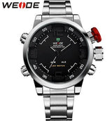 WEIDE Brand Mens Military Watches Multifunction Waterproof LED Casual Watch Stainless Steel Alarm Sports Men Wristwatches Hot