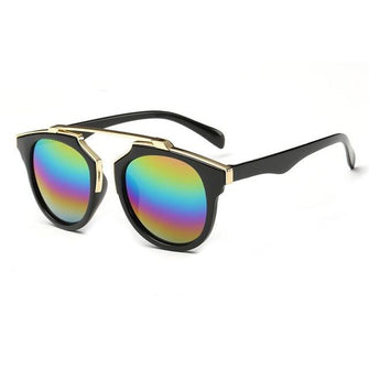 Womens 'So Real' Browline Sunglasses Astroshadez-ASTROSHADEZ.COM-Black Frame Multi-ASTROSHADEZ.COM