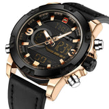 NAVIFORCE Luxury Brand Men Analog Digital Leather Sports Watches Mens Army Military Watch Man Quartz Clock Relogio Masculino-ASTROSHADEZ.COM-Gold Black-ASTROSHADEZ.COM