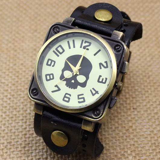 Vintage Black Leather Band Bracelet Quartz Wrist Skull Casual Watch Men Boy Retro