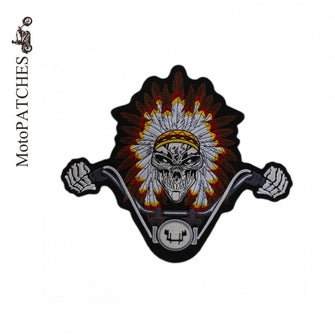 INDIAN HANDLEBAR SKULL MC MOTORCYCLE BIKE IRON PATCH LARGE-ASTROSHADEZ.COM-ASTROSHADEZ.COM