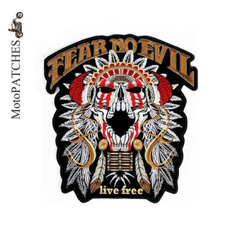 FEAR NO EVIL LIVE FREE INDIAN SKULL MC MOTORCYCLE BIKE IRON PATCH LARGE-ASTROSHADEZ.COM-ASTROSHADEZ.COM