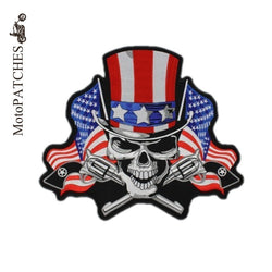 US AMERICAN SKULL FLAG MC MOTORCYCLE BIKE IRON PATCH LARGE-ASTROSHADEZ.COM-ASTROSHADEZ.COM
