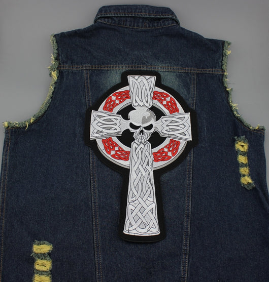 SKULL CROSS MC MOTORCYCLE BIKE IRON PATCH LARGE-ASTROSHADEZ.COM-ASTROSHADEZ.COM
