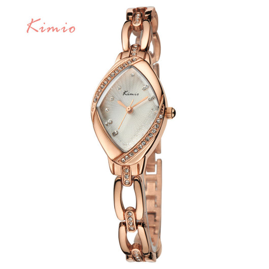 KIMIO Brand High Quality Thin Oval Rhombus Rose Gold Rhinestone Watch Women Crystal Ladies Designer Wrist Watches Dress Quartz-ASTROSHADEZ.COM-ASTROSHADEZ.COM