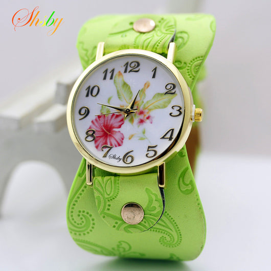 shsby New Arrival Printed leather Bracelet Wristwatch Wide band Dress Watch with flowers Fashion Women Casual Watch girl's gift-ASTROSHADEZ.COM-ASTROSHADEZ.COM