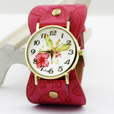 shsby New Arrival Printed leather Bracelet Wristwatch Wide band Dress Watch with flowers Fashion Women Casual Watch girl's gift-ASTROSHADEZ.COM-Rose-ASTROSHADEZ.COM