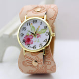 shsby New Arrival Printed leather Bracelet Wristwatch Wide band Dress Watch with flowers Fashion Women Casual Watch girl's gift-ASTROSHADEZ.COM-Pink-ASTROSHADEZ.COM