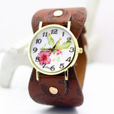 shsby New Arrival Printed leather Bracelet Wristwatch Wide band Dress Watch with flowers Fashion Women Casual Watch girl's gift-ASTROSHADEZ.COM-Brown-ASTROSHADEZ.COM