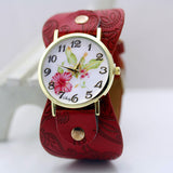 shsby New Arrival Printed leather Bracelet Wristwatch Wide band Dress Watch with flowers Fashion Women Casual Watch girl's gift-ASTROSHADEZ.COM-Red-ASTROSHADEZ.COM