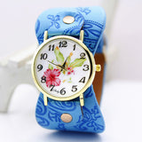 shsby New Arrival Printed leather Bracelet Wristwatch Wide band Dress Watch with flowers Fashion Women Casual Watch girl's gift-ASTROSHADEZ.COM-sky blue-ASTROSHADEZ.COM