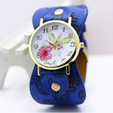 shsby New Arrival Printed leather Bracelet Wristwatch Wide band Dress Watch with flowers Fashion Women Casual Watch girl's gift-ASTROSHADEZ.COM-dark blue-ASTROSHADEZ.COM