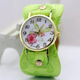 shsby New Arrival Printed leather Bracelet Wristwatch Wide band Dress Watch with flowers Fashion Women Casual Watch girl's gift-ASTROSHADEZ.COM-Green-ASTROSHADEZ.COM