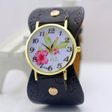 shsby New Arrival Printed leather Bracelet Wristwatch Wide band Dress Watch with flowers Fashion Women Casual Watch girl's gift-ASTROSHADEZ.COM-Black-ASTROSHADEZ.COM
