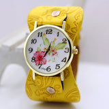 shsby New Arrival Printed leather Bracelet Wristwatch Wide band Dress Watch with flowers Fashion Women Casual Watch girl's gift-ASTROSHADEZ.COM-Yellow-ASTROSHADEZ.COM