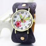 shsby New Arrival Printed leather Bracelet Wristwatch Wide band Dress Watch with flowers Fashion Women Casual Watch girl's gift-ASTROSHADEZ.COM-dark purple-ASTROSHADEZ.COM