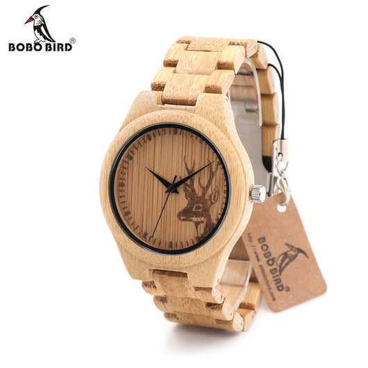 BOBOBIRD D28 Natural Bamboo Wood Watches With Deer Head Engrave With Bamboo Strap Japanese 2035 Movement For Gift-ASTROSHADEZ.COM-ASTROSHADEZ.COM