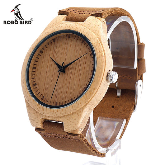 BOBO BIRD F18 Mapanese Miyota 2035 Movement Wristwatches Genuine Leather Bamboo Wooden Watches for Men and Women Christmas Gifts