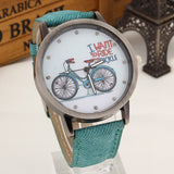 2017 Fashion Brand Quartz Watches Bicycle Pattern Cartoon Watch Women Casual Vintage Leather Girls Kids Wristwatches gifts Clock-ASTROSHADEZ.COM-Green-ASTROSHADEZ.COM