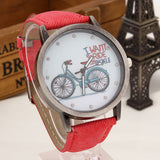 2017 Fashion Brand Quartz Watches Bicycle Pattern Cartoon Watch Women Casual Vintage Leather Girls Kids Wristwatches gifts Clock-ASTROSHADEZ.COM-Red-ASTROSHADEZ.COM
