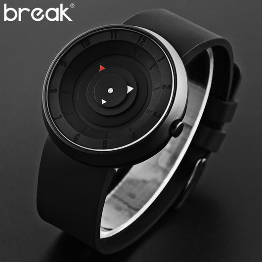 BREAK Men Unisex Creative Fashion Casual Rubber Band Sport Waterproof Quartz Watch Gift for Women Classic Black Wristwatches-ASTROSHADEZ.COM-ASTROSHADEZ.COM