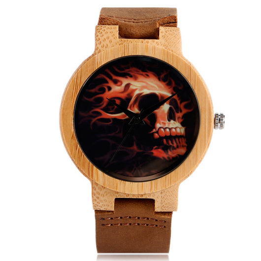 2017 New Arrival Trendy Creative Watches Skull Nature Wood Bamboo Wrist Watch Men Women Genuine Leather Strap