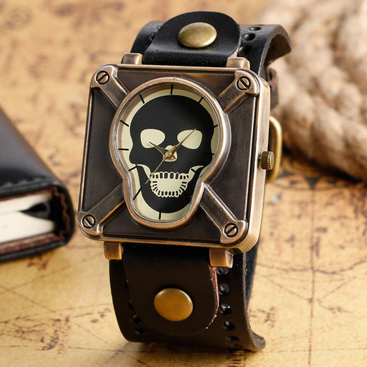 Fashion Special Design Crossbone Skull Design Men Analog Modern Square Shape Wrist Watch Stylish Cool Leather Band Strap Watch