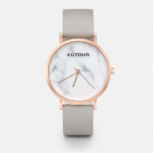 EUTOUR Women Luxury Brand Fashion Analog Quartz Wristwatch Gold leather Marble watch 3ATM waterproof lovers Watches Gift Packing