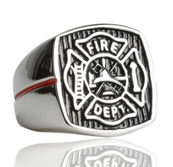 FIRE DEPT DEPARTMENT Stainless Steel Silver Gold Ring Mens-ASTROSHADEZ.COM-ASTROSHADEZ.COM