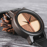 Mens Wood Bamboo Brown Black Leather Round Circle Classy Watch-ASTROSHADEZ.COM-ASTROSHADEZ.COM