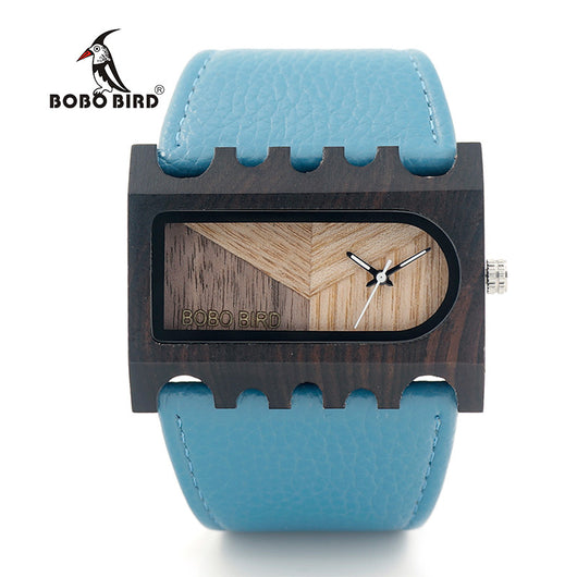 3 Colors Womens Square Rectangle Wood Bamboo Leather Wide Watch Blue Pink Tan-ASTROSHADEZ.COM-ASTROSHADEZ.COM
