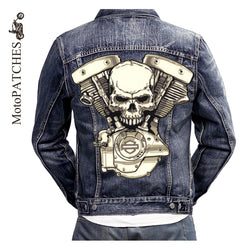 SKULL HEAD SKELETON MC MOTORCYCLE BIKE IRON PATCH LARGE-ASTROSHADEZ.COM-ASTROSHADEZ.COM