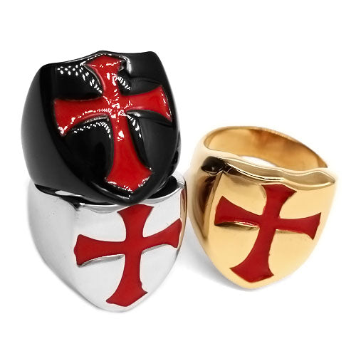 Armor Shield Knight Templar Red Cross Ring Stainless Steel Jewelry Medievil Signet Retro Vintage Biker Ring-ASTROSHADEZ.COM-ASTROSHADEZ.COM