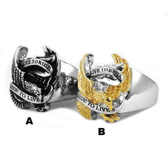 Live To Ride Eagle Biker Ring Stainless Steel Ring Jewelry Silver Gold Classic Motor cycles Biker Men Ring SWR0005A-ASTROSHADEZ.COM-ASTROSHADEZ.COM