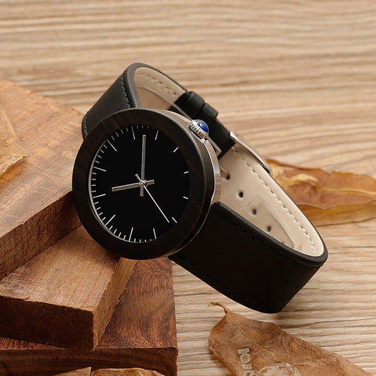 Womens 37mm Black Wood Bamboo Leather Circle Round Analog Watch-ASTROSHADEZ.COM-ASTROSHADEZ.COM