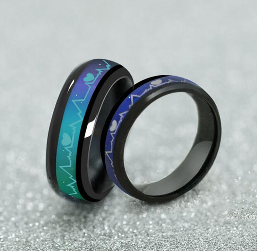 Stainless Steel Black Mood Electrocardiogram Change Color Temperature Heartbeat-ASTROSHADEZ.COM-ASTROSHADEZ.COM