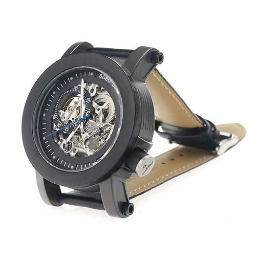 Luxury Mens Mechanical Black Clear Wood Bamboo Leather Watch Waterproof-ASTROSHADEZ.COM-ASTROSHADEZ.COM