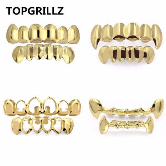 Diamond Pure Gold Color Plated HIP HOP Teeth Grillz Top & Bottom Grill Set With silicone Vampire Teeth ship from US-ASTROSHADEZ.COM-ASTROSHADEZ.COM