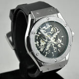MENS STAINLESS STEEL SKELETON SILVER RUBBER HOLLOW CLEAR QUARTZ MECHANICAL ANALOG WATCH