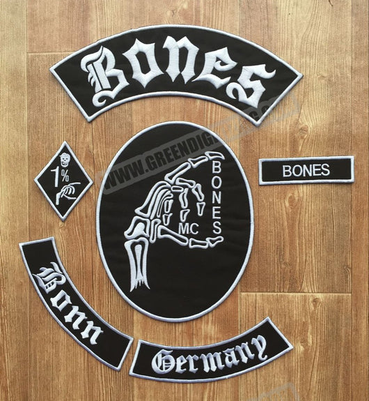 BONES BONN GERMANY PATCH SET MC MOTORCYCLE VEST JACKET IRON ON-ASTROSHADEZ.COM-ASTROSHADEZ.COM