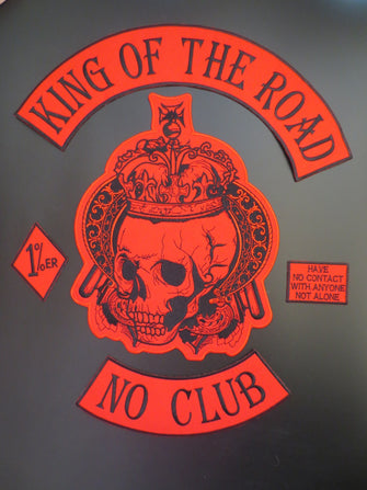 KING OF THE ROAD NO CLUB MC PATCH SET RED BIKER SEW ON VEST-ASTROSHADEZ.COM-ASTROSHADEZ.COM
