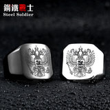 DOUBLE EAGLE RUSSIAN MC BIKER Stainless Steel Silver Gold Ring Mens-ASTROSHADEZ.COM-ASTROSHADEZ.COM