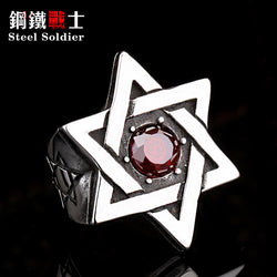 STAR OF DAVID RED GEM Stainless Steel Silver Gold Ring Mens-ASTROSHADEZ.COM-ASTROSHADEZ.COM
