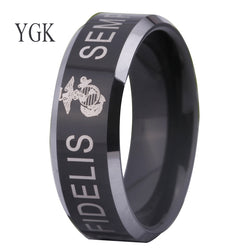 USMC US MARINE FIDELIS Fashion Tungsten CARBIDE Ring WEDDING-ASTROSHADEZ.COM-ASTROSHADEZ.COM