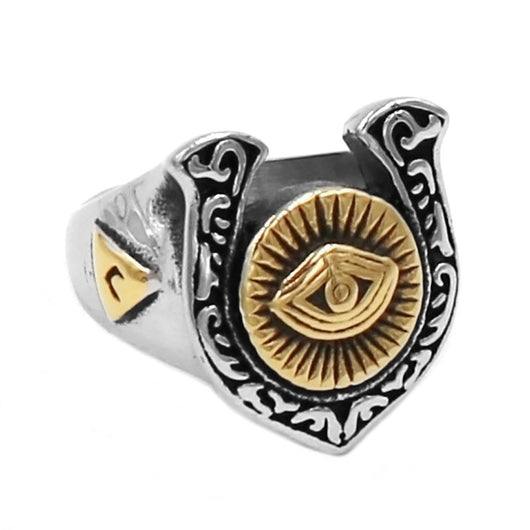 Illuminati Pyramid Eye Symbol U-Shaped Horseshoe Ring Masonic Biker Silver Gold-ASTROSHADEZ.COM-ASTROSHADEZ.COM