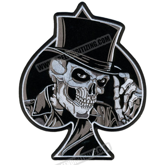 SKULL ACE OF SPADES MC Biker Patch Set Iron On Vest Jacket Rocker LARGE-ASTROSHADEZ.COM-ASTROSHADEZ.COM