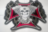SKULL CHOPPER IRON CROSS MC Biker Patch Set Iron On Vest Jacket Rocker LARGE-ASTROSHADEZ.COM-ASTROSHADEZ.COM